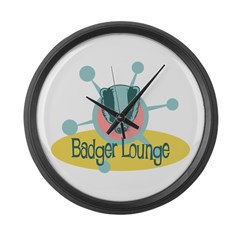 Retro Badger Lounge Large Wall Clock