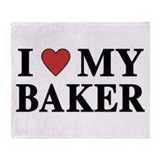 I Love My Baker Throw Blanket