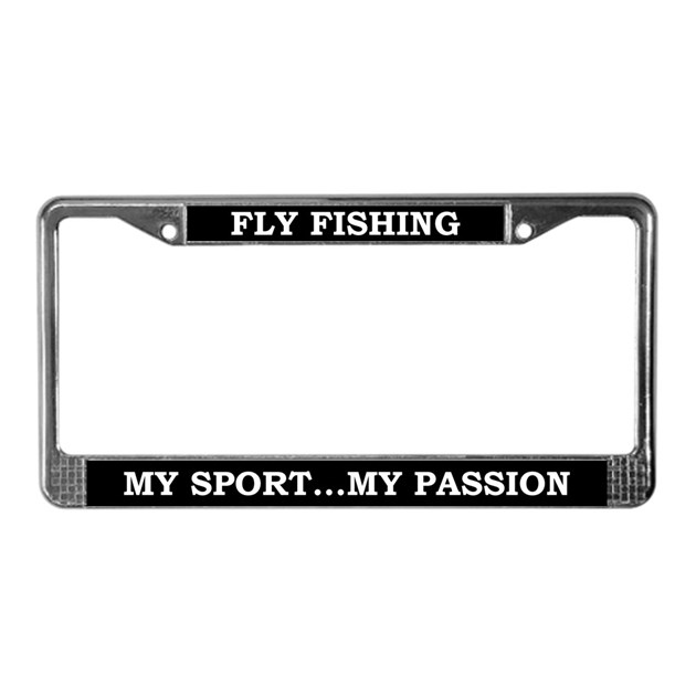 Fly fishing license plate frame by kinnikinnicktoo for Fishing license plate