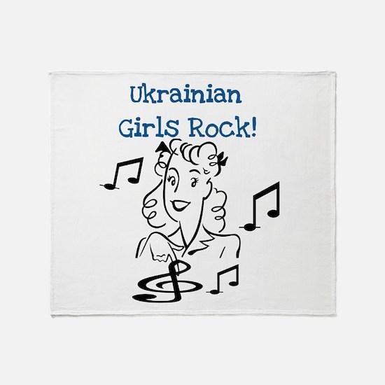 Ukrainian Girls Rock Throw Blanket