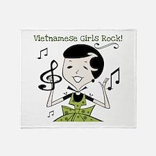 Vietnamese Girls Rock Throw Blanket