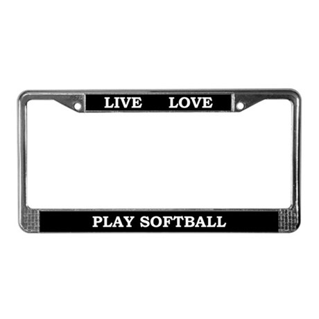 live love play softball license plate frame by kinnikinnicktoo