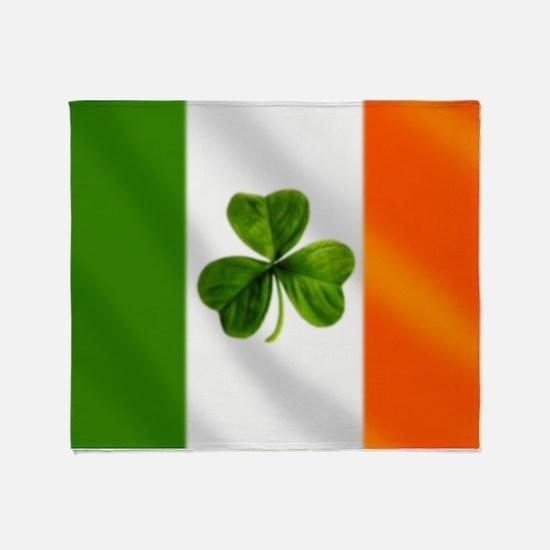 Irish Shamrock Flag Throw Blanket