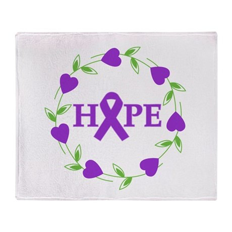 Pancreatic Cancer Hearts Hope Throw Blanket