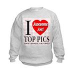 I Love Top Pics Awesome Art! Kids Sweatshirt