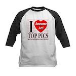 I Love Top Pics Awesome Art! Kids Baseball Jersey