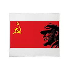 Lenin Soviet Flag Throw Blanket