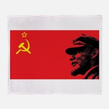 Lenin Soviet Flag Throw Blanket