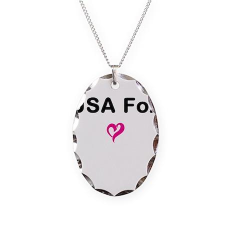 USA Fox Necklace Oval Charm