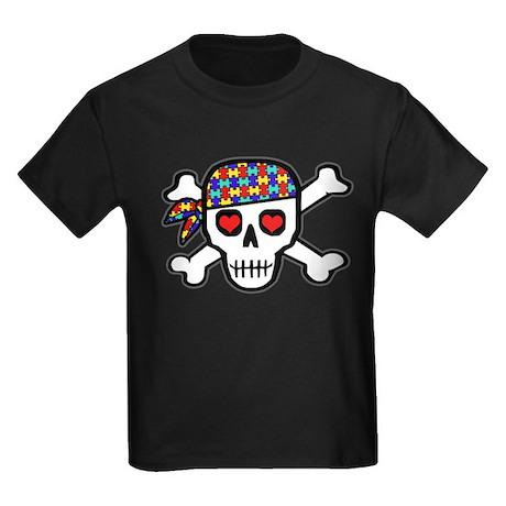 Rockin' Autism Skull Kids Dark T-Shirt