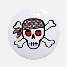 Rockin' Autism Skull Ornament (Round)