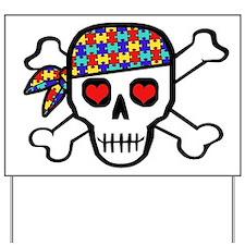 Rockin' Autism Skull Yard Sign