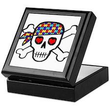 Rockin' Autism Skull Keepsake Box