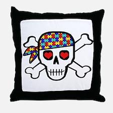 Rockin' Autism Skull Throw Pillow