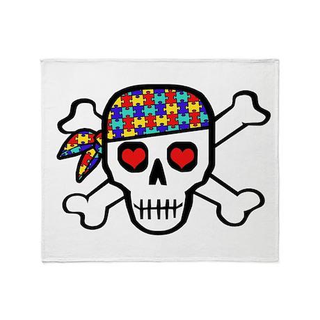 Rockin' Autism Skull Throw Blanket