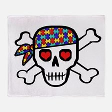 Rockin' Autism Skull Throw Blanket