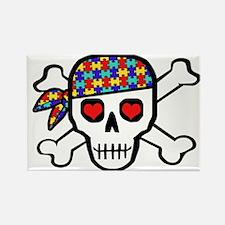 Rockin' Autism Skull Rectangle Magnet