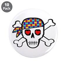 "Rockin' Autism Skull 3.5"" Button (10 pack)"