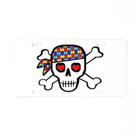 Rockin' Autism Skull Aluminum License Plate