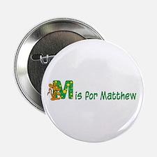 Letter M boys name Matthew Button