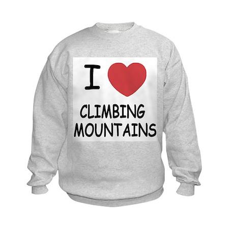 I heart climbing mountains Kids Sweatshirt