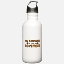 My Daughter is Due in November Water Bottle