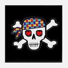 Rockin' Autism Skull (Blk) Tile Coaster