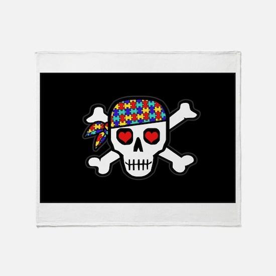 Rockin' Autism Skull (Blk) Throw Blanket