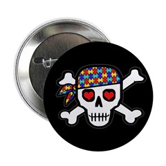 """Rockin' Autism Skull (Blk) 2.25"""" Button"""