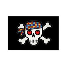 Rockin' Autism Skull (Blk) Rectangle Magnet
