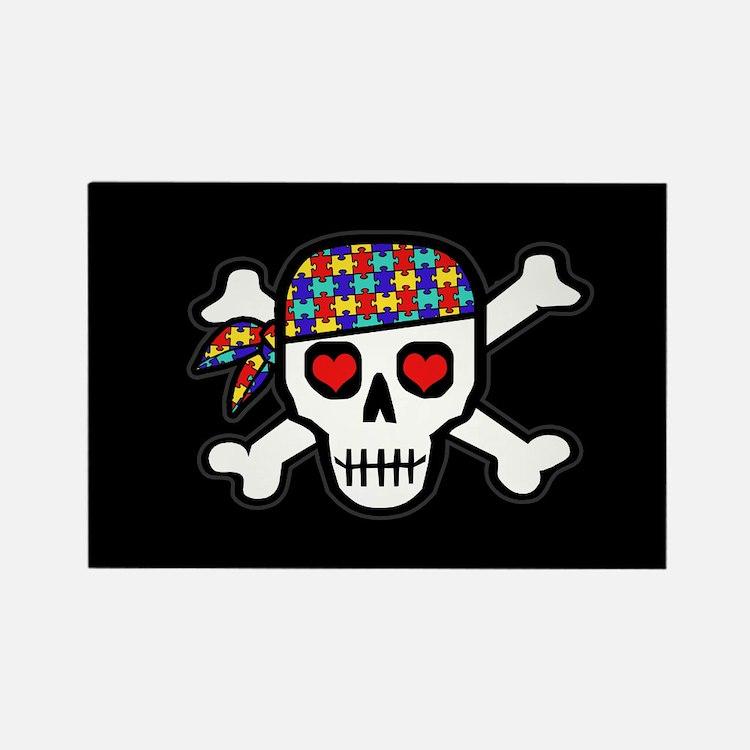 Rockin' Autism Skull (Blk) Rectangle Magnet