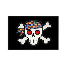 Rockin' Autism Skull (Blk) Rectangle Magnet (100)