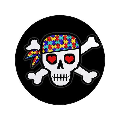 """Rockin' Autism Skull (Blk) 3.5"""" Button"""