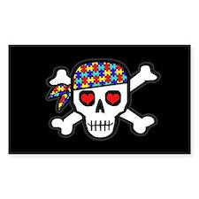Rockin' Autism Skull (Blk) Bumper Stickers
