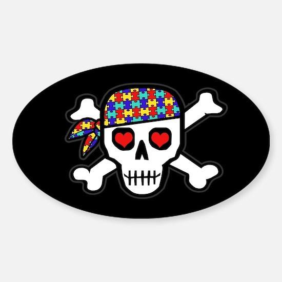 Rockin' Autism Skull (Blk) Sticker (Oval)