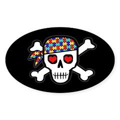 Rockin' Autism Skull (Blk) Sticker (Oval 10 pk)