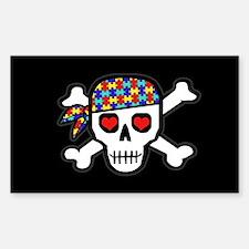 Rockin' Autism Skull (Blk) Sticker (Rect 10 pk)