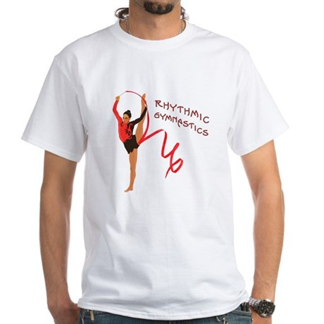 Red Gymnast Ribbon White T-Shirt