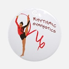 Red Gymnast Ribbon Ornament (Round)