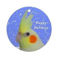 Lutino Cockatiel Art Holiday Ornament