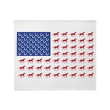 Original Patriotic Horse Flag Throw Blanket