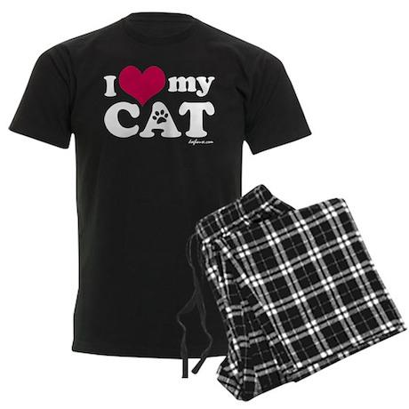 I Love My Cat Men's Dark Pajamas