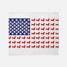 Dachshund Patriotic Flag Throw Blanket