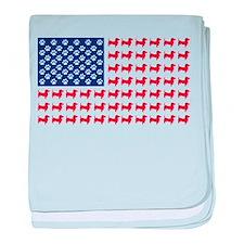 Dachshund Patriotic Flag baby blanket