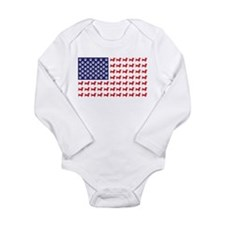 Dachshund Patriotic Flag Long Sleeve Infant Bodysu