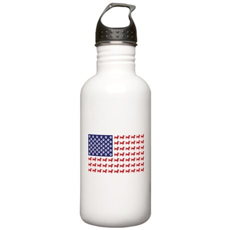 Dachshund Patriotic Flag Stainless Water Bottle 1.