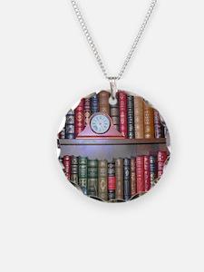 Reader's Bookshelf Necklace Circle Charm