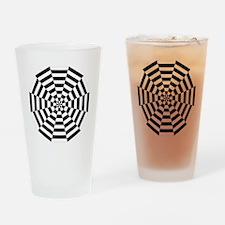 Dodecagon Black & White Pint Glass