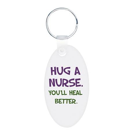 Hug a Nurse Aluminum Oval Keychain