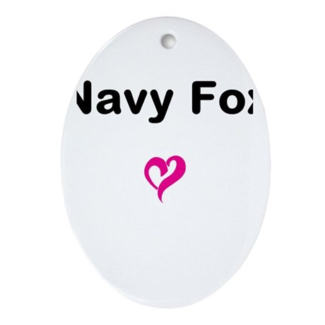 Navy Fox Ornament (Oval)